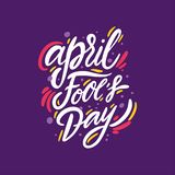 April Fools Day. Hand drawn vector lettering quote. Cartoon style. Isolated on violet background. Design for holiday greeting cards, logo, sticker, banner vector illustration