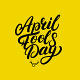 April Fools Day hand written lettering for greeting card, posters, prints. Stock Image