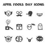 April fools day icons. Mono vector symbols Stock Illustration
