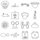 April fools day icons set, outline style Royalty Free Stock Photos