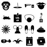 April fools day icons set, simple style Royalty Free Stock Images
