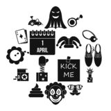 April fools day icons set, simple style. April fools day icons set in simple style. Prank playful actions set collection illustration royalty free illustration