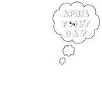 April fools day illustration cloud text background black and white Stock Images