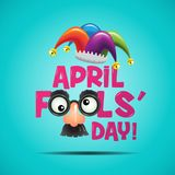 April Fools Day illustration. Colorful illustration of April Fools Day! text with a funny face and jester's hat incorporated into the design, isolated on a vector illustration