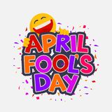 April Fools Day illustration with laughing smiley. Vector design for banner, greeting card and poster. Hand drawn lettering Stock Photo