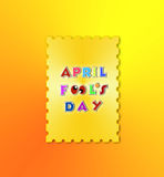 April fools day illustration over gold background banner Stock Photos