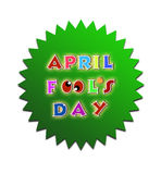 April fools day illustration over green sticker background banner Stock Photo