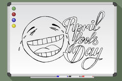 April Fools Day.  illustration. April Fools Day on whiteboard. Hand drawn  stock illustration Royalty Free Stock Photos