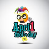 April Fools Day jester hat, silly glasses and mustache, vector illustration Royalty Free Stock Photography