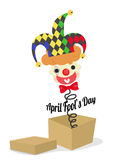 April fools day with joker in surpirse box Royalty Free Stock Images