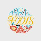 April Fools Day Lettering. April Fools Day Hand Drawn Lettering with smile, jester hat and mustache for print, poster, web, greeting card, illustrations. Vector Royalty Free Stock Photography