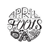 April Fools Day  Lettering. April Fools Day  Hand Drawn Lettering with smile,  jester hat and mustache for print, poster, web, greeting card, illustrations Stock Images