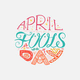 April Fools Day  Lettering. April Fools Day  Hand Drawn Lettering with smile,  jester hat and mustache for print, poster, web, greeting card, illustrations Stock Photos