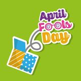 April fools day lettering jump on prank box. Vector illustration Royalty Free Stock Photo