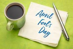 April Fools Day - napkin handwriting royalty free stock photo