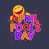 April Fools Day-ontwerp met tekst en het lachen smiley Royalty-vrije Stock Foto's