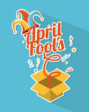 April fools day. Over blue background vector illustration Stock Images
