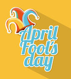 April fools day. Over yellow background  illustration Stock Photo