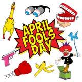 April Fools Day-Scherzartikelsatz Stockfoto