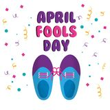 April fools day shoe with tied laces comic celebration. Vector illustration Royalty Free Stock Photography