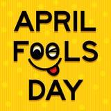 April Fools Day-tekst en grappige gezichts vectorillustratie stock illustratie