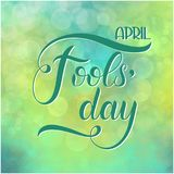 April Fools Day text. Colorful lettering. Hand lettering greeting card Stock Photography