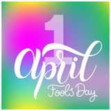 April Fools Day text. Colorful lettering. Hand lettering greeting card Stock Images