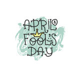 April Fools Day text with crown clown. April 1. Illustration for greeting card, banner, ad, promotion, poster, flier Royalty Free Stock Image