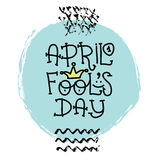April Fools Day text with crown clown. April 1. Illustration for greeting card, banner, ad, promotion, poster, flier Royalty Free Stock Photo