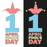 April Fools Day text and funny element vector illustration for greeting card. Ad, promotion, poster, flier, blog, article, marketing, signage, email Royalty Free Stock Images