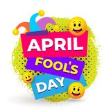 April Fools Day Text And Funny Glasses. Greeting Card, Ad, Promotion, Poster, Flier, Blog, Article, Marketing, Signage, Email. royalty free illustration