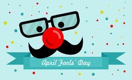 April Fools Day. Text and funny glasses and a red nose vector illustration for greeting card, ad, promotion, poster, flier, blog, article, marketing, signage Stock Photos