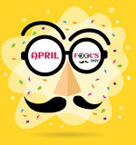 April Fools Day text and funny glasses. Vector for greeting card Stock Images