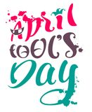 April fools day text for greeting card. Isolated on white vector cartoon illustration Stock Images