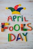 April Fools` Day text made with plasticine Royalty Free Stock Photo