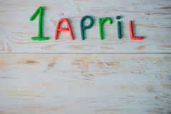 April Fools` Day text made with plasticine Stock Images
