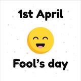 April Fools Day tipográfica com projeto da cara do sorriso no fundo branco Imagens de Stock