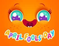 April fools` day. Vector illustration of cute orange face for april fools day. Kawaii face with eyes and freckles. April fools` day Stock Image