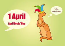 April Fools' Day. Vector illustration of the first in April. Angry cat with clownish hat Royalty Free Stock Photography