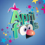 April Fools day vector illustration. With jester hat and funny glasses Royalty Free Stock Photography