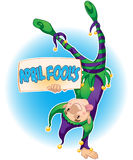 April Fools. A jester holding a sign that says April Fools Royalty Free Stock Image
