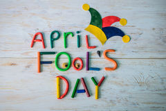 April Fools-` Tagestext gemacht mit Plasticine Lizenzfreie Stockfotos