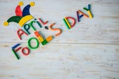 April Fools-` Tagestext gemacht mit Plasticine Stockbild