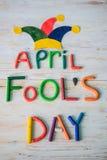 April Fools-` Tagestext gemacht mit Plasticine Lizenzfreie Stockbilder