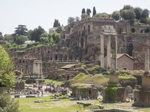 24 april 2018, Forum Romanum, Fori romani, ancient site of antiq. Ue city of Rome, in Rome near Palatino hill Royalty Free Stock Photography