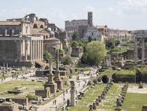 21 april 2018, Forum Romanum, Fori romani,. Ancient site of antique city of Rome, in Rome near Palatino hill Royalty Free Stock Image