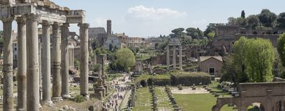 21 april 2018, Forum Romanum, Fori romani,. Ancient site of antique city of Rome, in Rome near Palatino hill Royalty Free Stock Photos
