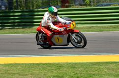 21 April 2018: Giacomo Agostini on MV Agusta during Motor Legend Festival 2018 at Imola Circuit. In Italy royalty free stock images