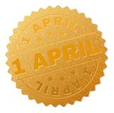 Golden 1 APRIL Medal Stamp. 1 APRIL gold stamp seal. Vector gold medal of 1 APRIL text. Text labels are placed between parallel lines and on circle. Golden royalty free illustration