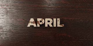 April - grungy hölzerne Schlagzeile auf Ahorn - 3D übertrug freies Archivbild der Abgabe Lizenzfreie Stockfotos